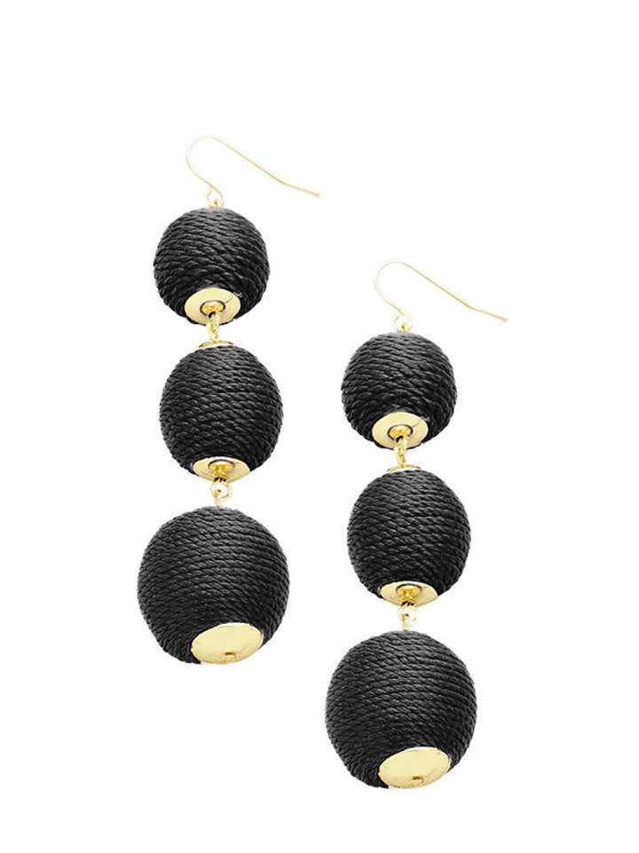 Black Thread Wrapped Three-Ball Drop Earrings