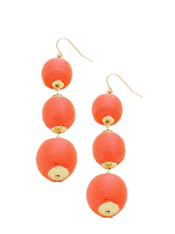 Coral Thread Wrapped Three-Ball Drop Earrings