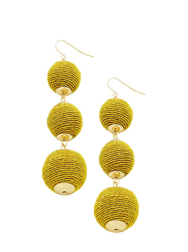 Green Thread Wrapped Three-Ball Drop Earrings