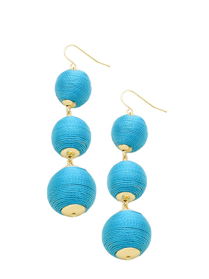 Turquoise Thread Wrapped Three-Ball Drop Earrings