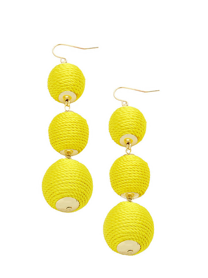 Yellow Thread Wrapped Three-Ball Drop Earrings