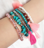 Turquoise and Pink Beaded Tassel Bracelet Stack