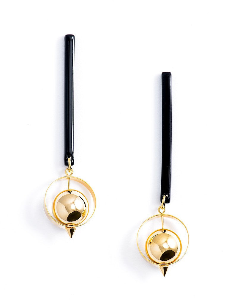 Long Gold Ball Drop Earrings