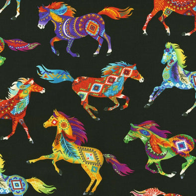 Cotton Fabric - Brite Southwest Horses