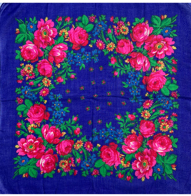 "Floral Scarf - 30"" x 30"" - Navy"