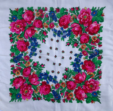 "Floral Scarf - 30"" x 30"" - White"