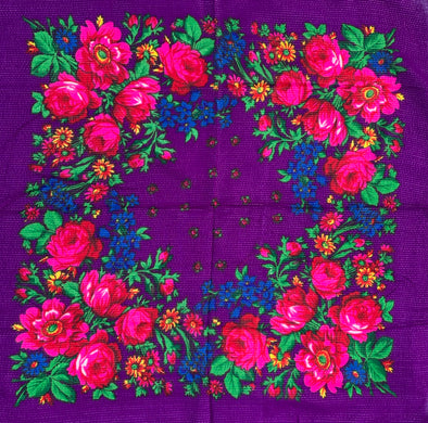 "Floral Scarf - 30"" x 30"" - Purple"