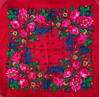 "Floral Scarf - 30"" x 30"" - Red"