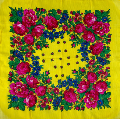 "Floral Scarf - 30"" x 30"" - Yellow"