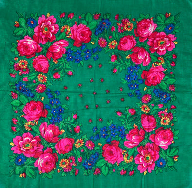 "Floral Scarves - 30"" x 30"" - Green"