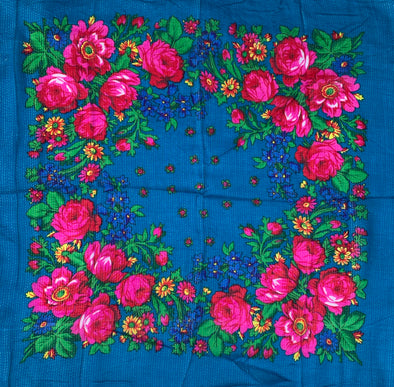 "Floral Scarf - 30"" x 30"" - Teal Blue"
