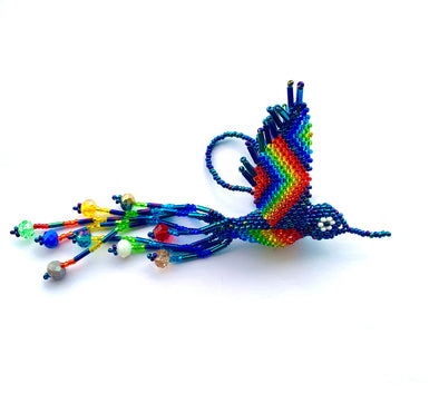 Beaded Ornament -  Navy AB Hummingbird B