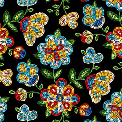 Cotton Fabric - Beaded Floral - Black