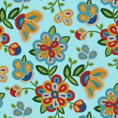 Cotton Fabric - Beaded Floral - Light Turquoise