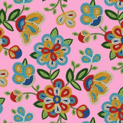 Cotton Fabric - Beaded Floral - Pink