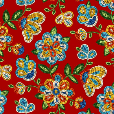 Cotton Fabric - Beaded Floral - Red