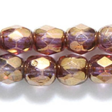Preciosa 4 mm F/P Round - Brown Marble on Crystal