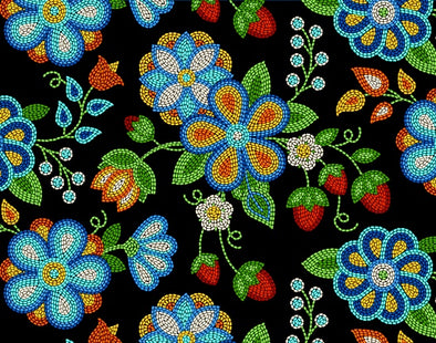 Cotton Fabric - Beaded Strawberries - Black