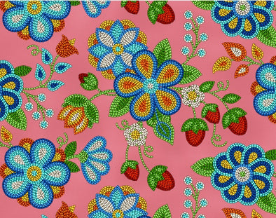 Cotton Fabric - Beaded Strawberries - Coral