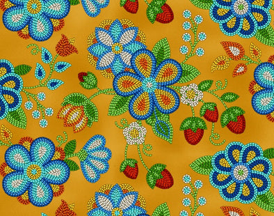 Cotton Fabric - Beaded Strawberries - Moosehide