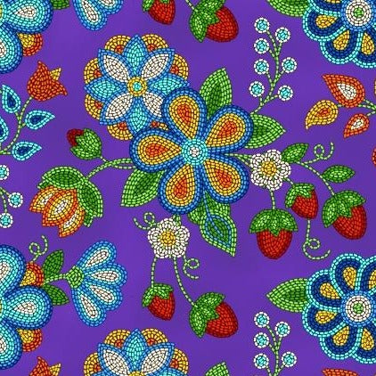 Cotton Fabric - Beaded Strawberries - Purple