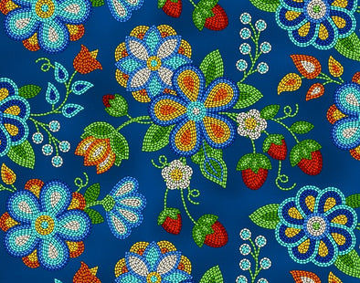 Cotton Fabric - Beaded Strawberries - Royal