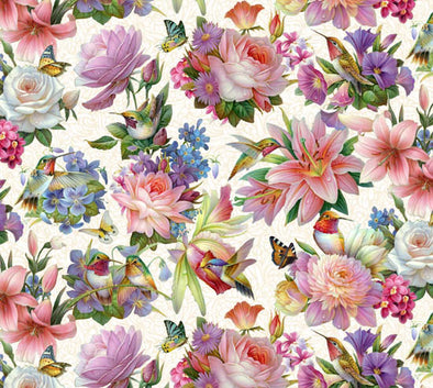 Cotton Fabric - Hummingbird Floral