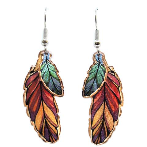 Copper Earrings - Red & Aqua Feathers