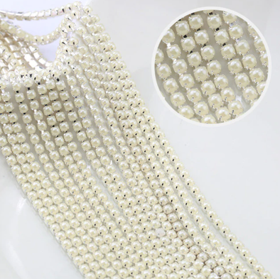 Pearl Banding - Cream on Silver (SS8)