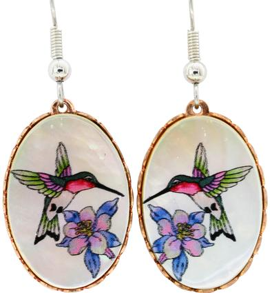 Copper Earrings - Mother of Pearl Hummingbirds