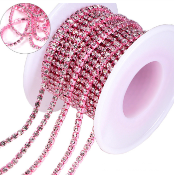 SS6 Metal Banding - Crystal on Light Pink