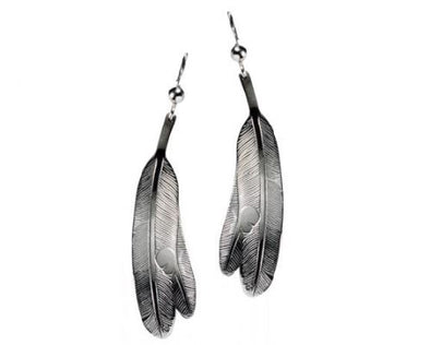 Silver Pewter Earrings - Eagle Feathers