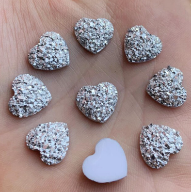 Acrylic Cab - Geode Hearts (Silver)