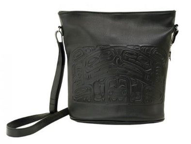 Pebble Leather Bucket Bag - Black