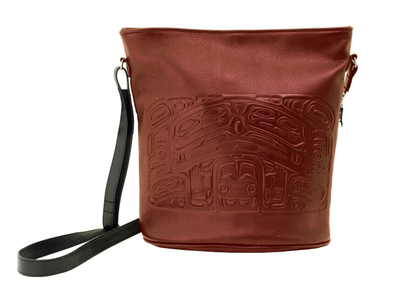 Pebble Leather Bucket Bag - Brick Red