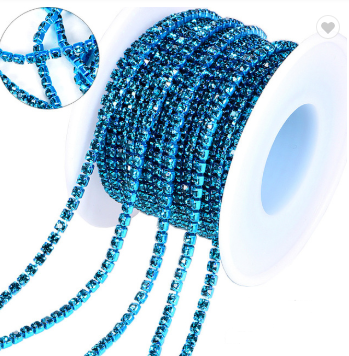 Rhinestone Banding - Light Blue on Light Blue (SS6)