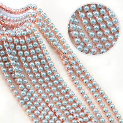 Pearl Banding - Light Blue Pearl on Rose Gold (SS8)