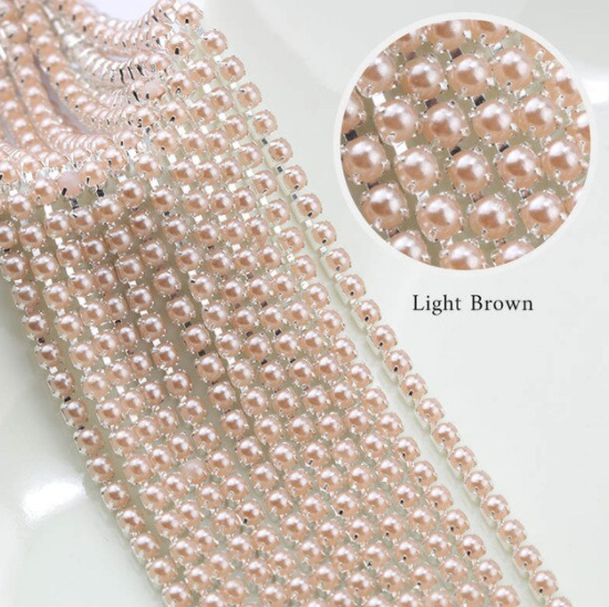 Pearl Banding - Light Brown Pearl on Silver (SS8)