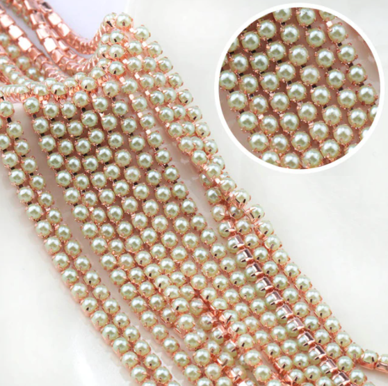 Pearl Banding - Light Green on Rose Gold (SS8)