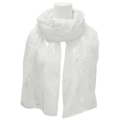 Polyester Scarf - Metallic Feathers - White