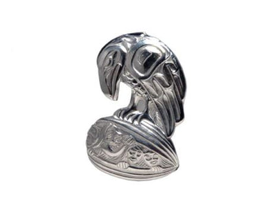 Silver Pewter Brooch - Raven Clamshell