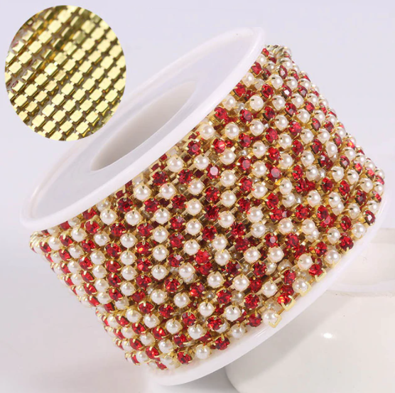 Pearl & Rhinestone Banding - Red & Pearl on Gold (SS6)
