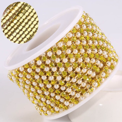 Pearl & Rhinestone Banding - Yellow & Pearl on Gold (SS6)