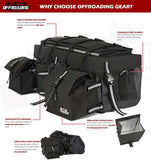 ATV Rear Bag with Rain Cover and Insulated Cooler Bags Black