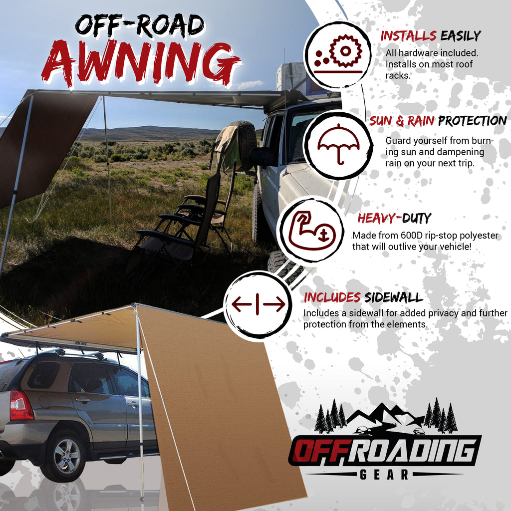 4x4/SUV Retractable Rollout Awning w/ Front Extension ...