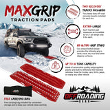 MaxGrip Tire Traction Pads with Leash and Carrying Bag (2 Recovery Boards) - For Snow/Mud/Ice/Sand