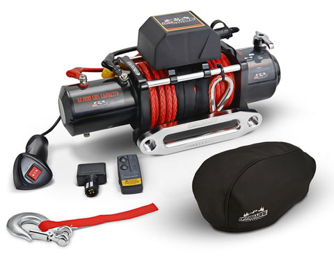 12,000 LBS Electric Winch w/ Synthetic Rope & Hawse Fairlead, Free Cover & Hook