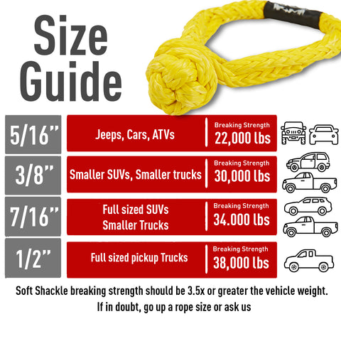 Offroading Gear Set of Two 7//16 Synthetic Soft Rope Shackles w//Free Storage Bag 34,000lbs+