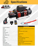 12,000 lbs Electric Winch w/Synthetic Rope & Hawse Fairlead, Free Cover & Hook