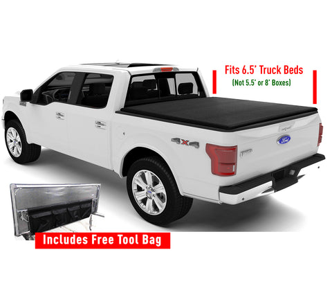 Soft Tonneau Cover for Pickup Truck Bed, Tri-Fold Vinyl with FREE Storage Pocket